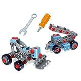 Brigamo 62414 - ⚒ Kran Bagger Bausatz 2in1 Konstruktionsspielzeug Baukasten Set mit Kinderwerkzeug, 120 Teile ⚒
