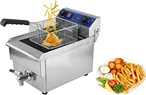 Commercial Deep Fryer 13L/11.44QT Countertop Single Tank Electric Deep Fryer 16500W Stainless Steel Timer French Fry Deep Fat Fryer with Basket, For Restaurant, Kitchen