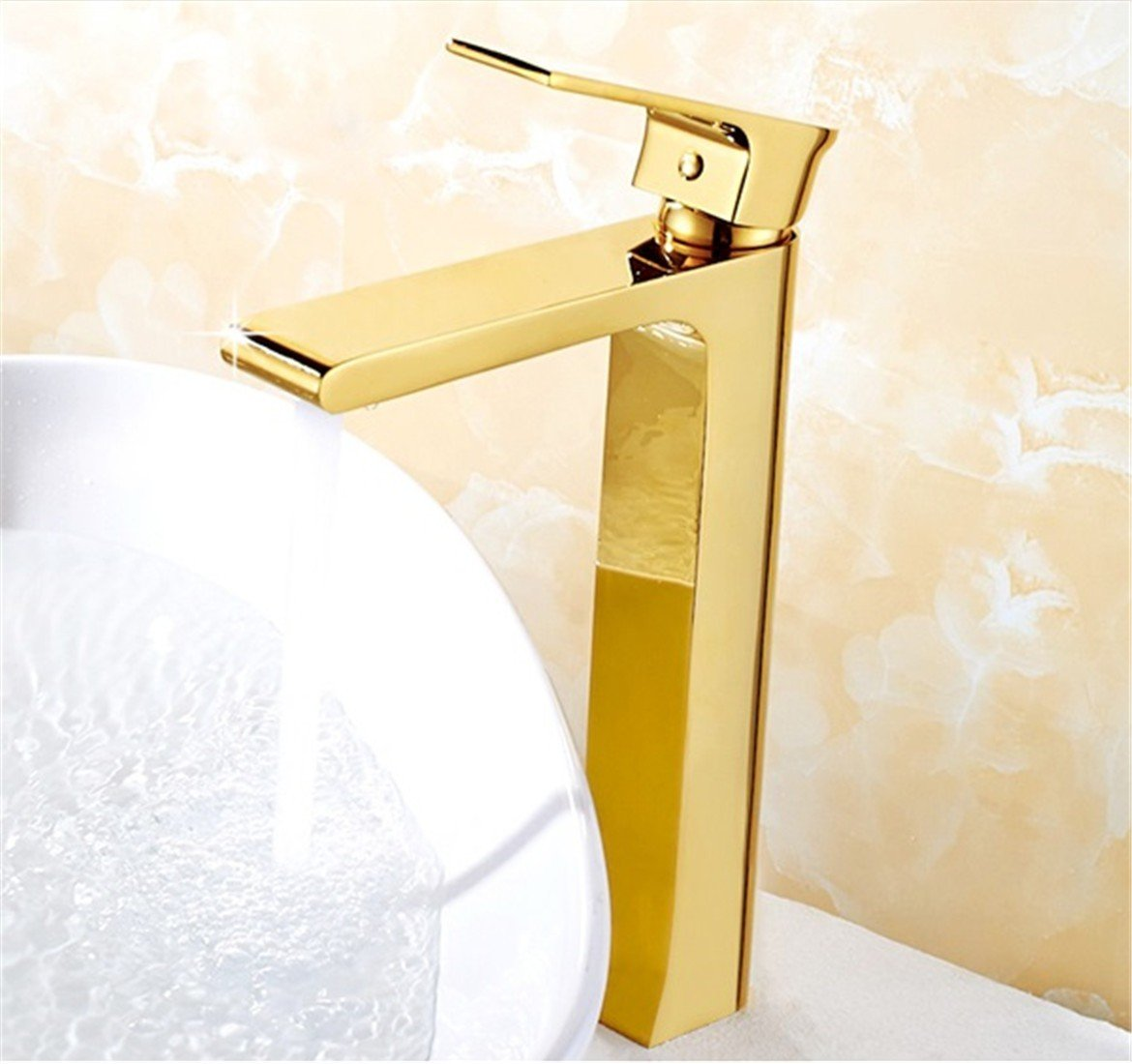 Fbict European-Style Copper Basin Faucet Long Water Outlet washbasin golden Faucet Square Baked White Paint, gold Heightening for Kitchen Bathroom Faucet Bid Tap