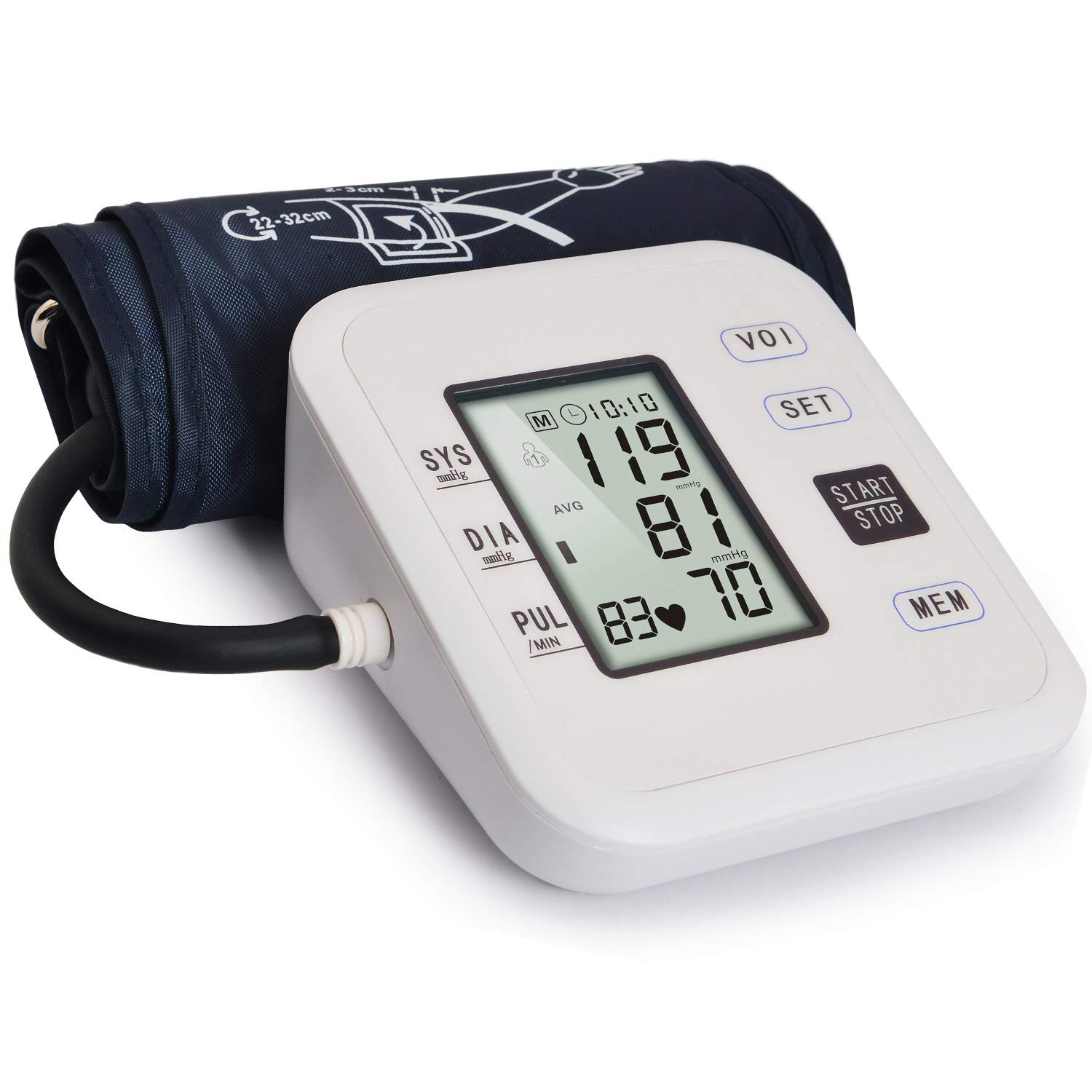 Hong S Upper Arm Blood Pressure Monitor Large LCD Display & Voice Broadcast with Adjustable Cuff (8.7'' - 12.6'') for 2 User/99 Set Memory Each Suitable for Home Use