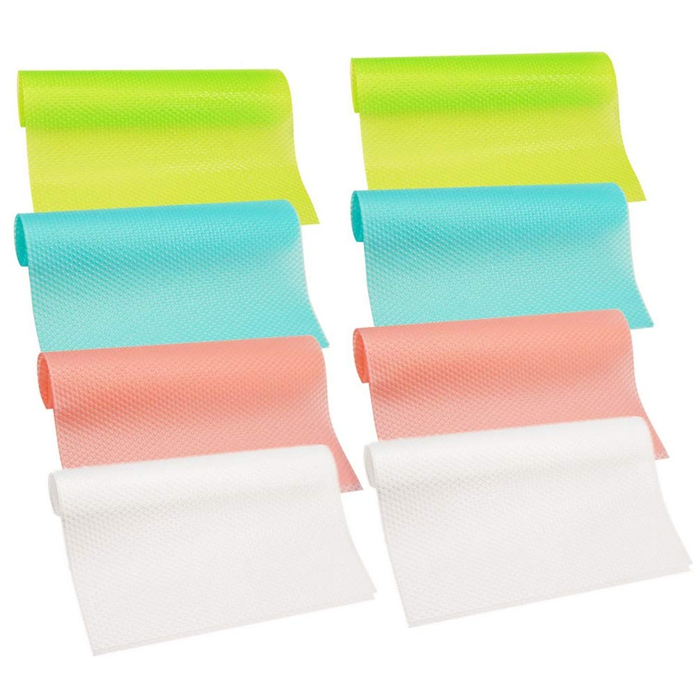 Refrigerator Pad 8PCS Antibacterial Antifouling Non Slip Fridge Mat Fridge Base Cushion DIY Cupboard Mat Shoe Mat Table Drawer Mat Place mats Coasters Kitchen Pads 29cm*45cm