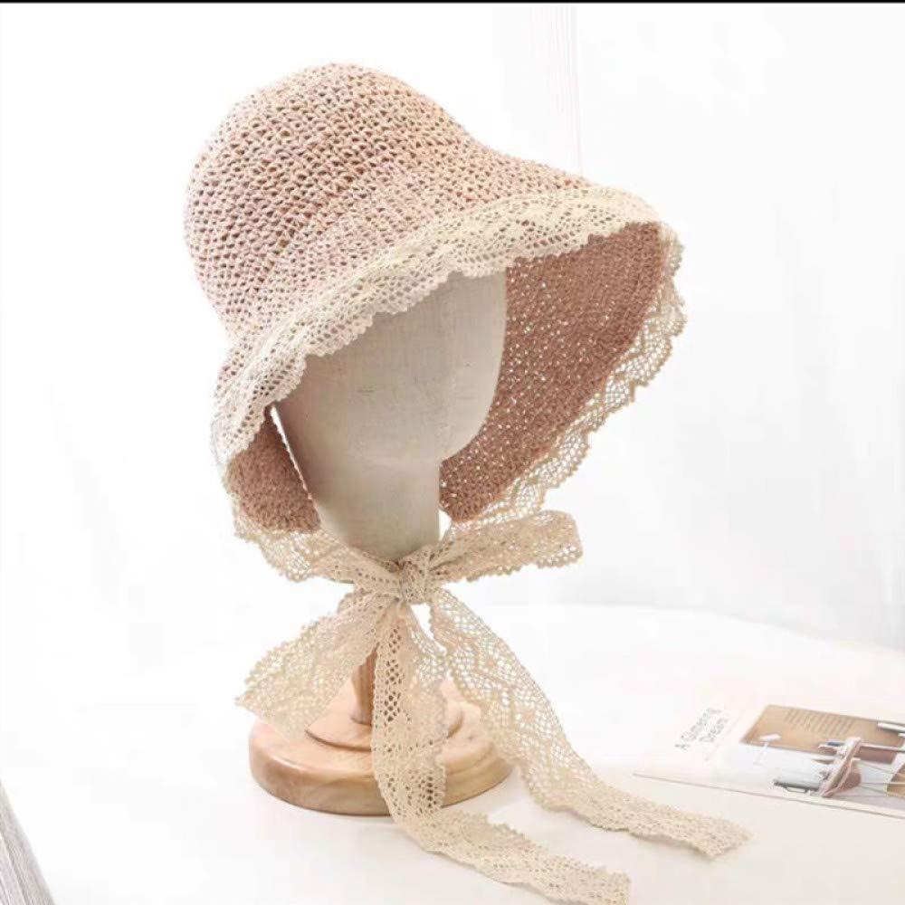 Ximai Femme Capelines de Soleil Chapeau de Paille Vintage Lace Dentelle Pliable Hat /Ét/é Plage Voyage
