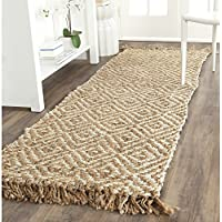Safavieh Natural Fiber Collection NF450A Hand Woven Natural and Ivory Jute Runner (26 x 8)