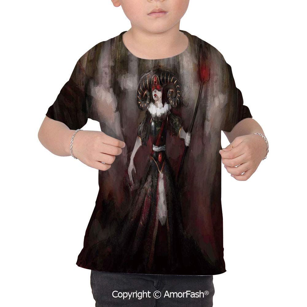 PUTIEN Gothic Decor Childrens Short Sleeve Cool T-Shirt,Polyester,Medieval Evil Woman