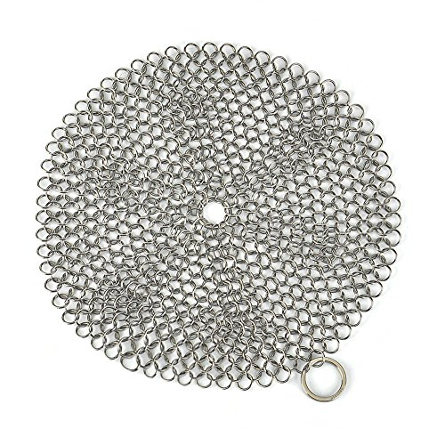 Engdash Cast Iron Cleaner 316 Stainless Steel Chainmail Scrubber for Cookware, 8″ Diameter Large