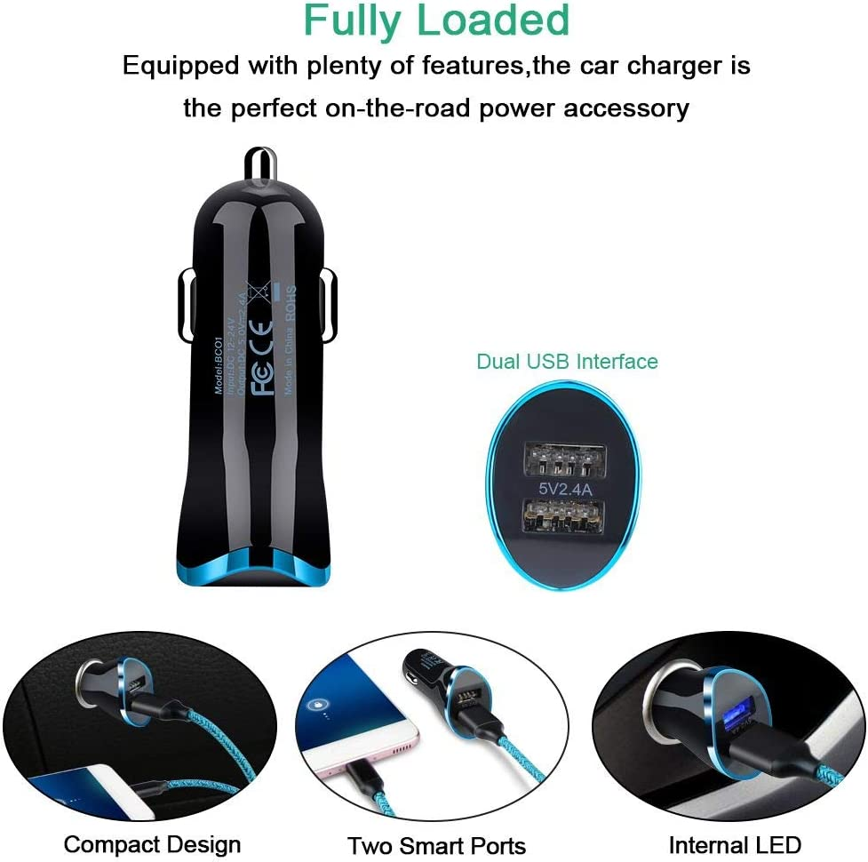A51 S8 S9 S10E A10E Note 8 9 10 Plus,LG V30 G5 Stylo 5 4 Moto G7 USB C Car Charger,2 Port Wall Charger Plug with 2Pack 6Ft Type C Fast Charging Cable Compatible with Samsung Galaxy S20 Ultra 5G S20