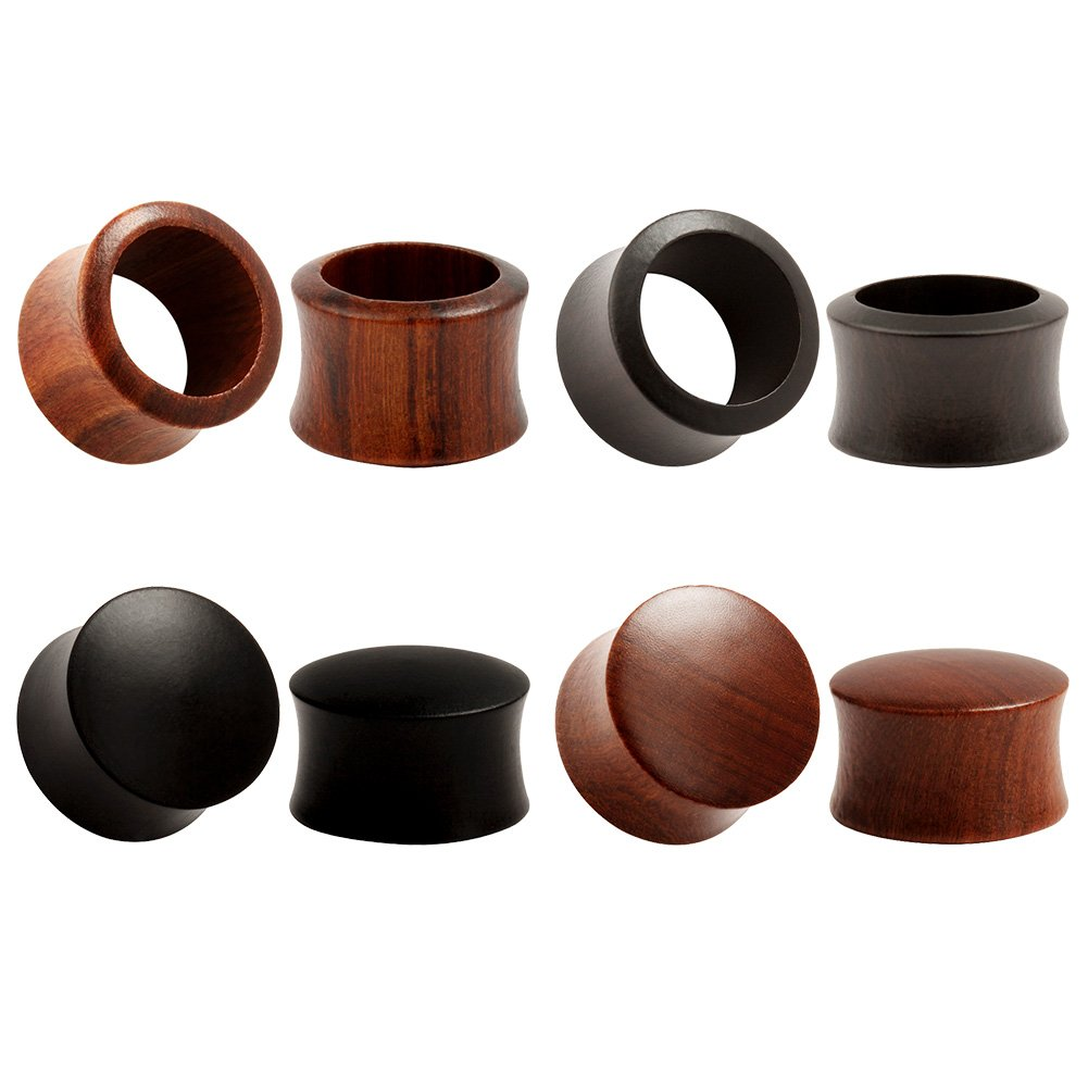 KUBOOZ(4 Pairs Set) Nature Sandalwood Ebony Ear Plugs Tunnels Gauges Stretcher Piercings AZH001-10
