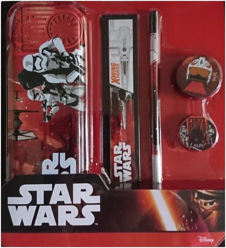 Producto oficial de Star Wars Stationery Set, estuche de metal, Regla, Lápiz, Goma de borrar y sacapuntas: Amazon.es: Oficina y papelería