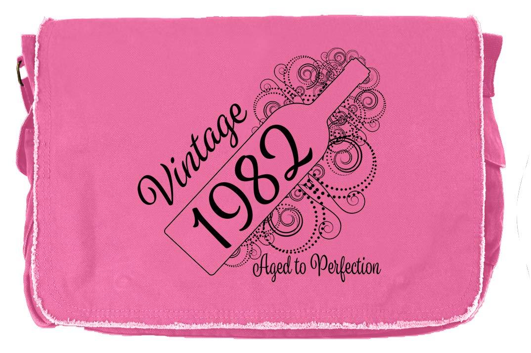 Aged Like a Fine Wine Flamingo Raw Edge Canvas Messenger Bag Tenacitee Born in 1982