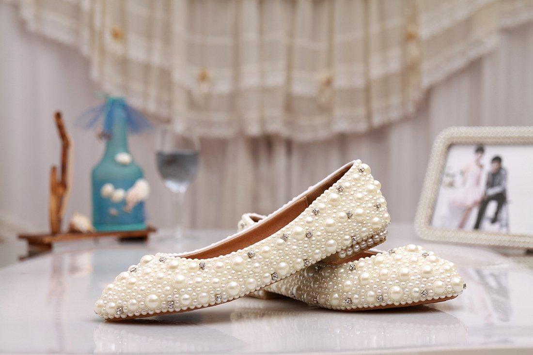 Minishion MZLL030 Women's Fashion Comfortable Handmade Pearl Ivory Satin Wedding Party Evening Prom Flats 7.5 M US by Minishion (Image #2)