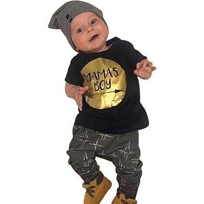 EGELEXY 2pcs Newborn Infant Baby Boys Kid T-Shirt Tops + Pants Outfits Sets 0-24M