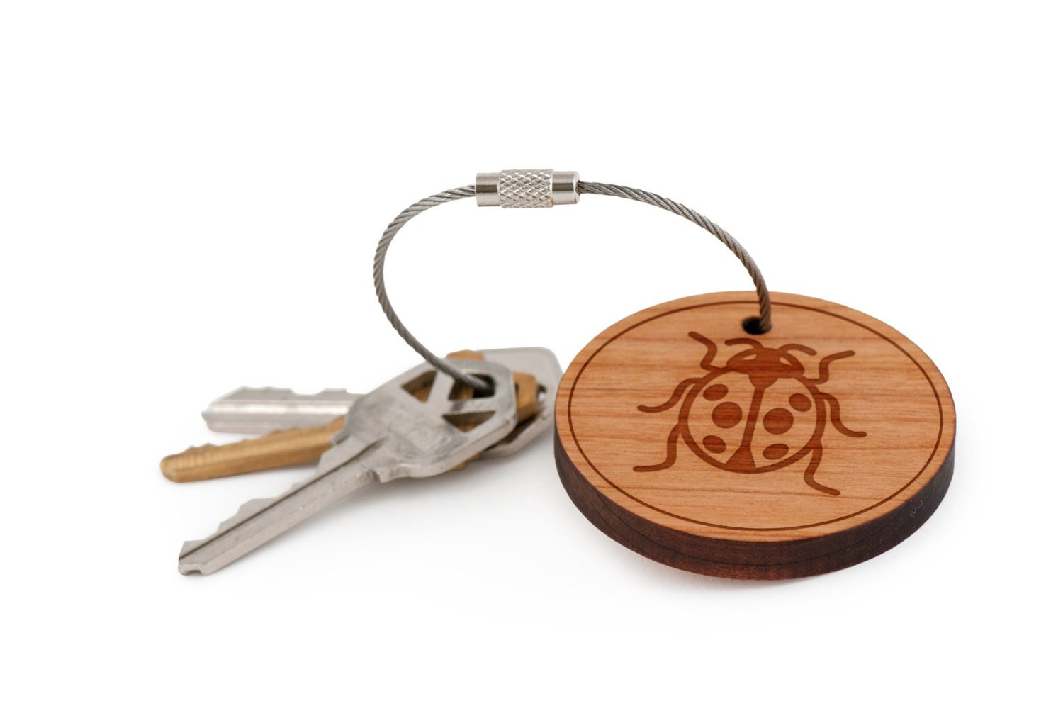 Ladybug Keychain, Wood Twist Cable Keychain - Small WoodenAccessoriesCo