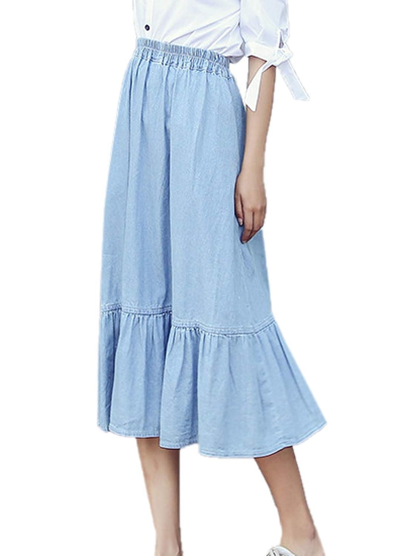 Simple-Fashion Donne Estivo Taglie Forti Gonne Jeans Giovane Moda Gonna a Pieghe Denim Skirts da Partito Festa Cocktail Casual Midi Skirt da Spiaggia