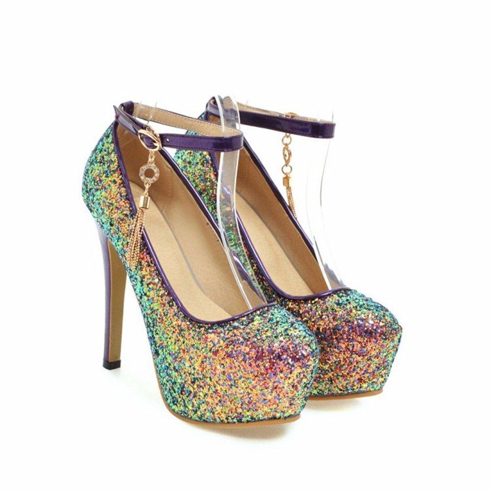 TS-nslixuan Dick Damenschuhe mit Einem Plattform Pailletten Schnalle Damenschuhe Dick - Kleid Schuhe Niedrigen Schuhe,Die Veilchen,Eu46 - 2610cf