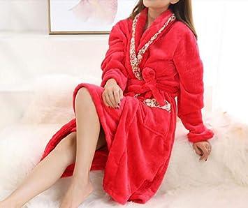 YIWANGO Batas De Mujer Otoño/Invierno Sexy Batas De Baño De Dos Piezas Engrosamiento Pijamas De Manga Larga Cálida Inicio,7-L: Amazon.es: Hogar