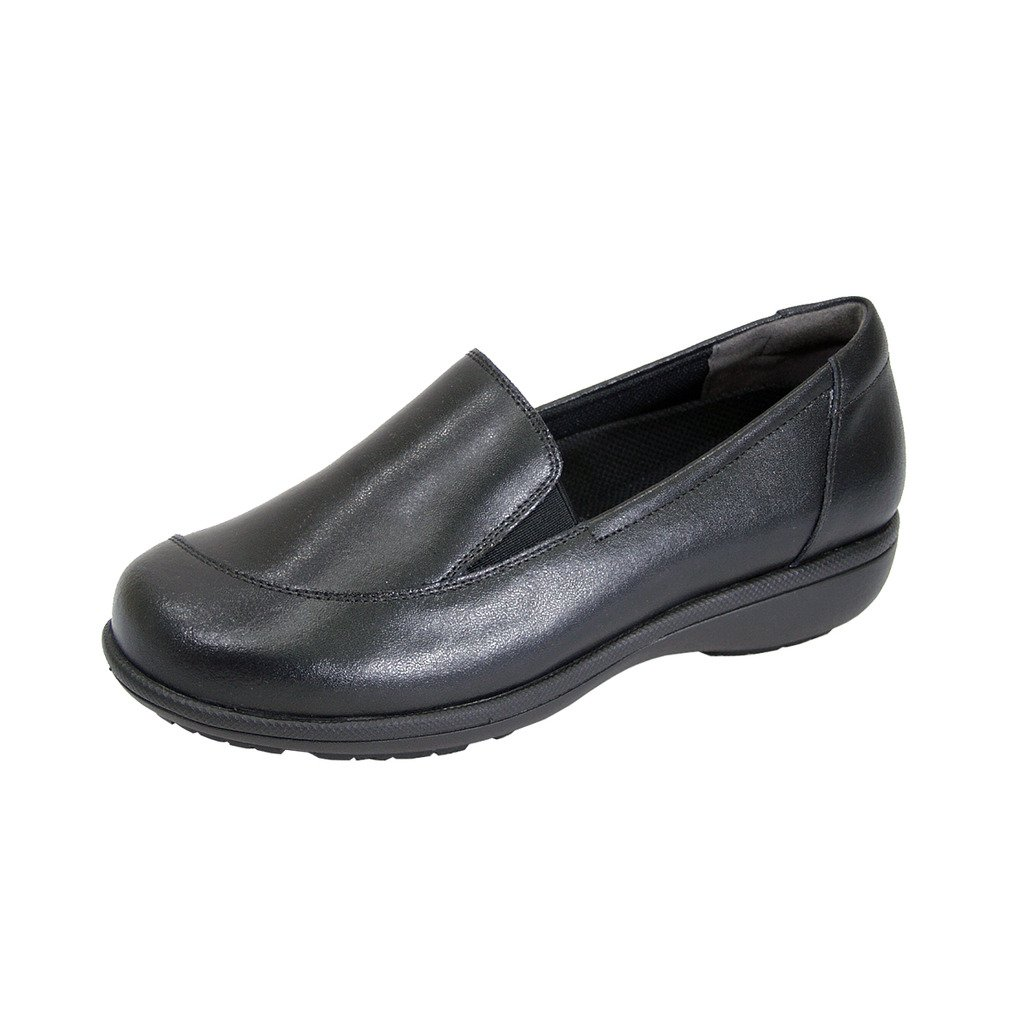 24 Hour Comfort Peggy Women Adjustable Extra Wide Width Professional Step in Loafer Black 9 by 24 Hour Comfort
