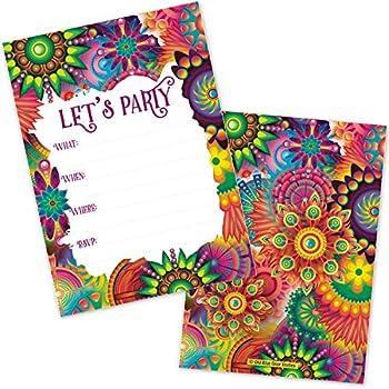 Amazon.com: Invitaciones de tinte de corbata Hippie (20 ...