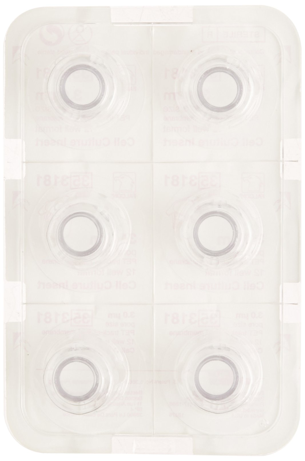 BD 353180 Falcon Transparent Polyethylene Terephthalate Sterile Cell Culture Insert, 0.4 Micron Pore Size, For 12 Well Plate (Case of 48)