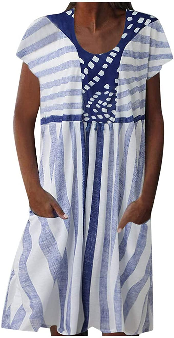 Ansenesna Sommerkleid Damen Gestreift Kurz Elegant Kleid Frauen