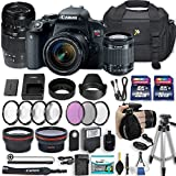 Canon EOS Rebel T7i 24.2 MP DSLR Camera with Canon EF-S 18-55mm f/4-5.6 IS STM Lens + Tamron 70-300mm f/4-5.6 Di LD Lens + 2 Memory Cards + 2 Aux Lenses + 50 Tripod + Accessories Bundle (24 Items)