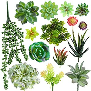 SOONHUA Artificial Succulent Plants, Fake Succulent Plants,Assorted Faux Plant for Home Office Decoration Floral Arrangement,Unpotted for Christmas Decorations (15 Different PCS) 1