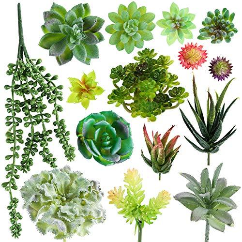 SOONHUA Artificial Succulent Plants, Fake Succulent Plants,Assorted Faux Plant for Home Office Decoration Floral Arrangement,Unpotted for Christmas Decorations (15 Different PCS) ()
