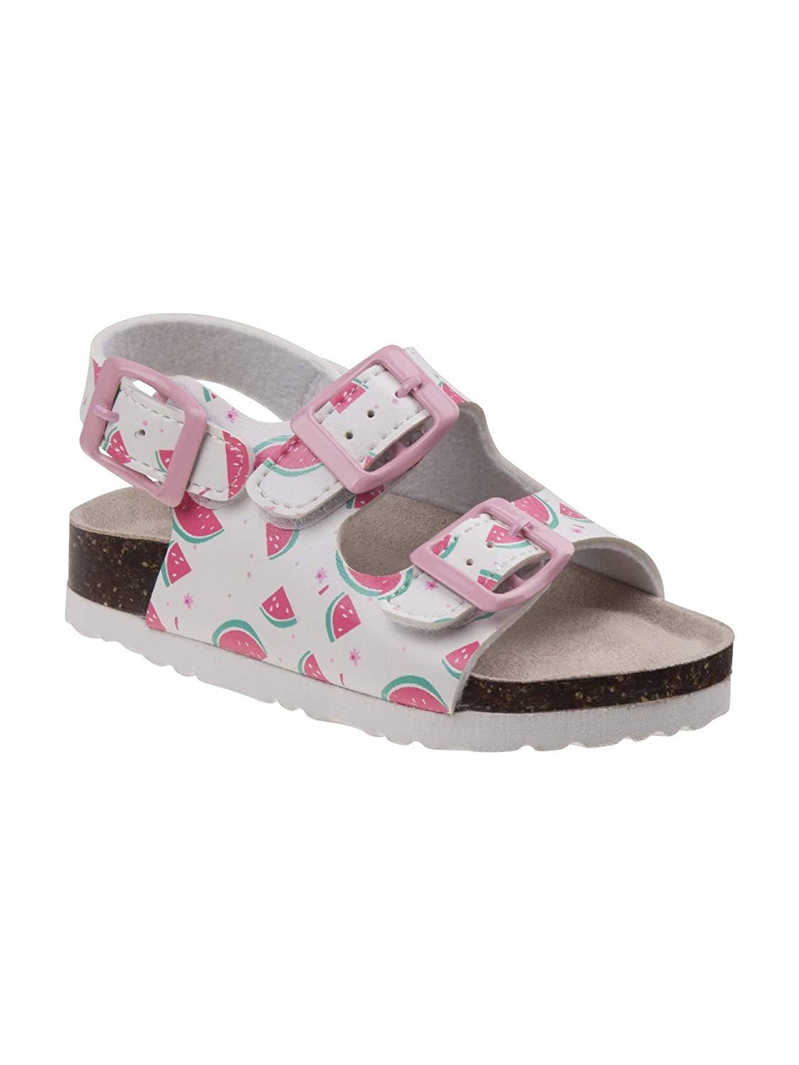 Laura Ashley Little Girls White Melon Print Cork Footbed Sandals 5-10 Toddler