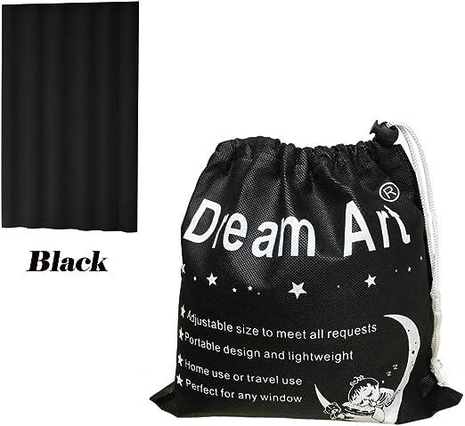 Dream Art Portable En Cualquier Lugar Cortinas Opacas Cortina con ventosas para Puerta corredera Guardería Bebé Niños Dormitorio de los niños En el hogar y de Viaje, Ajustable por Velcro Negro: Amazon.es: