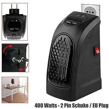 Ociodual Calefactor Negro 400W Conector 2 Pin Schuko Calentador para Hogar Casa Viajes