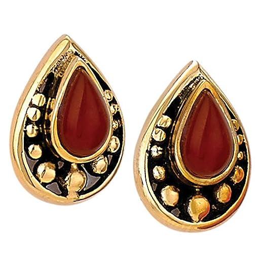 """Women's Carnelian 'N Bronze Post Earrings - 1/2"""" Teardrops"""