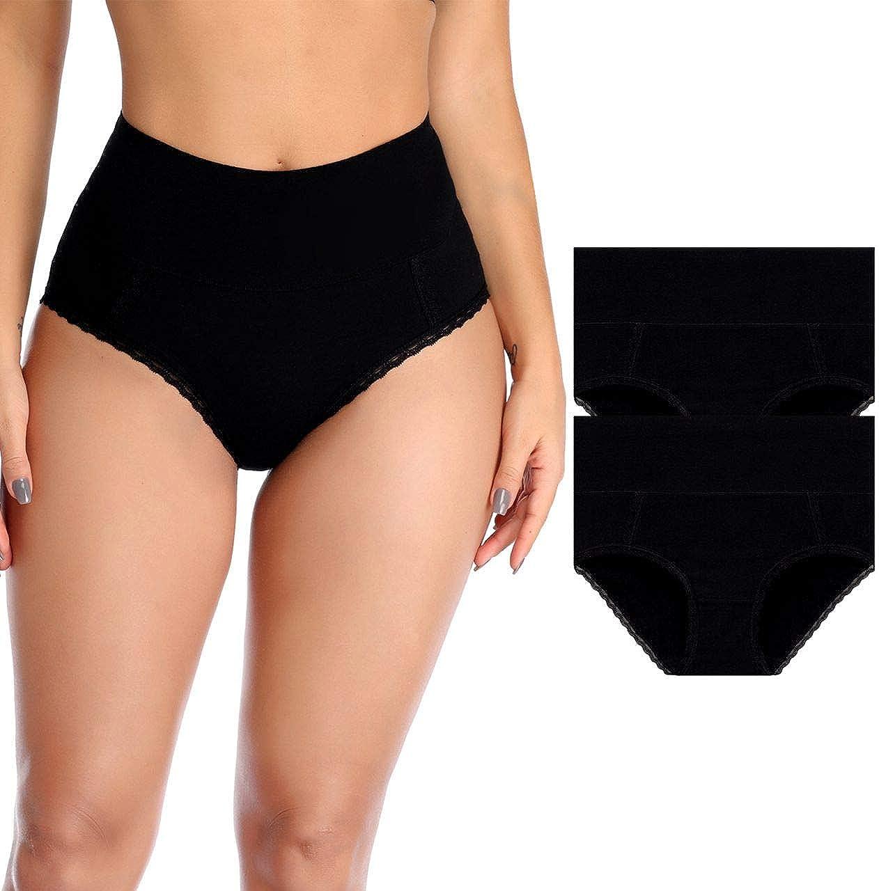 Womens Underwear, High Waist Cotton Underwear No Muffin Top Briefs Ladies Panties Breathable Underwear
