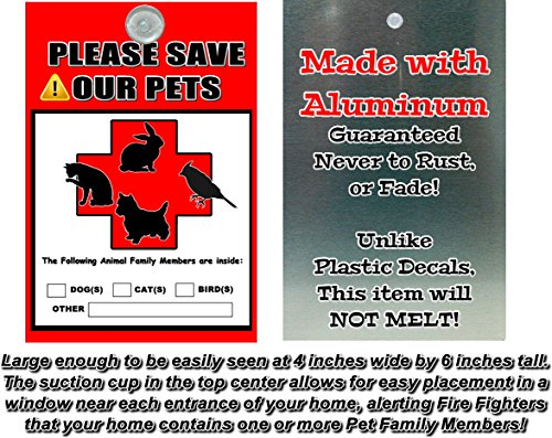 Aluminum Metal Pet Alert Fire Rescue - PLEASE SAVE for sale  Delivered anywhere in Canada