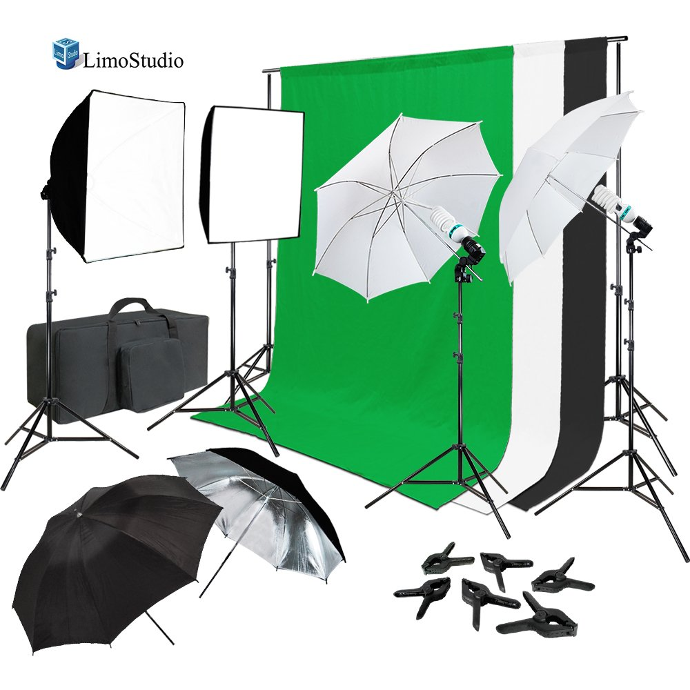 Continuous Lighting Photo & Video Studio Kit with Photo Background Muslin and Umbrella Reflector, Softbox, Backdrop Support Structure System with Cross Bar, Photo Studio Bundle, AGG2061_V2