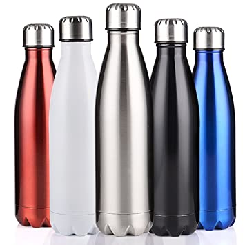 bc6ec205a5 BELLOO 750ml Stainless Steel Water Bottle Vacuum Insulated Sports Bottle,  Silver Plain Color
