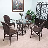 Dark Rattan 5 Piece Dining Set (2-Armchairs, 2-Side Chairs, Dining Table, 42'' Round Glass)