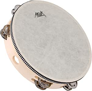 """AKLOT 10"""" Tambourine Hand Held Drum 8 Pairs Double Row Metal Bell Jingles Beech Percussion Musical Educational Instrument for Party Kids Dance & Song Accompaniment"""