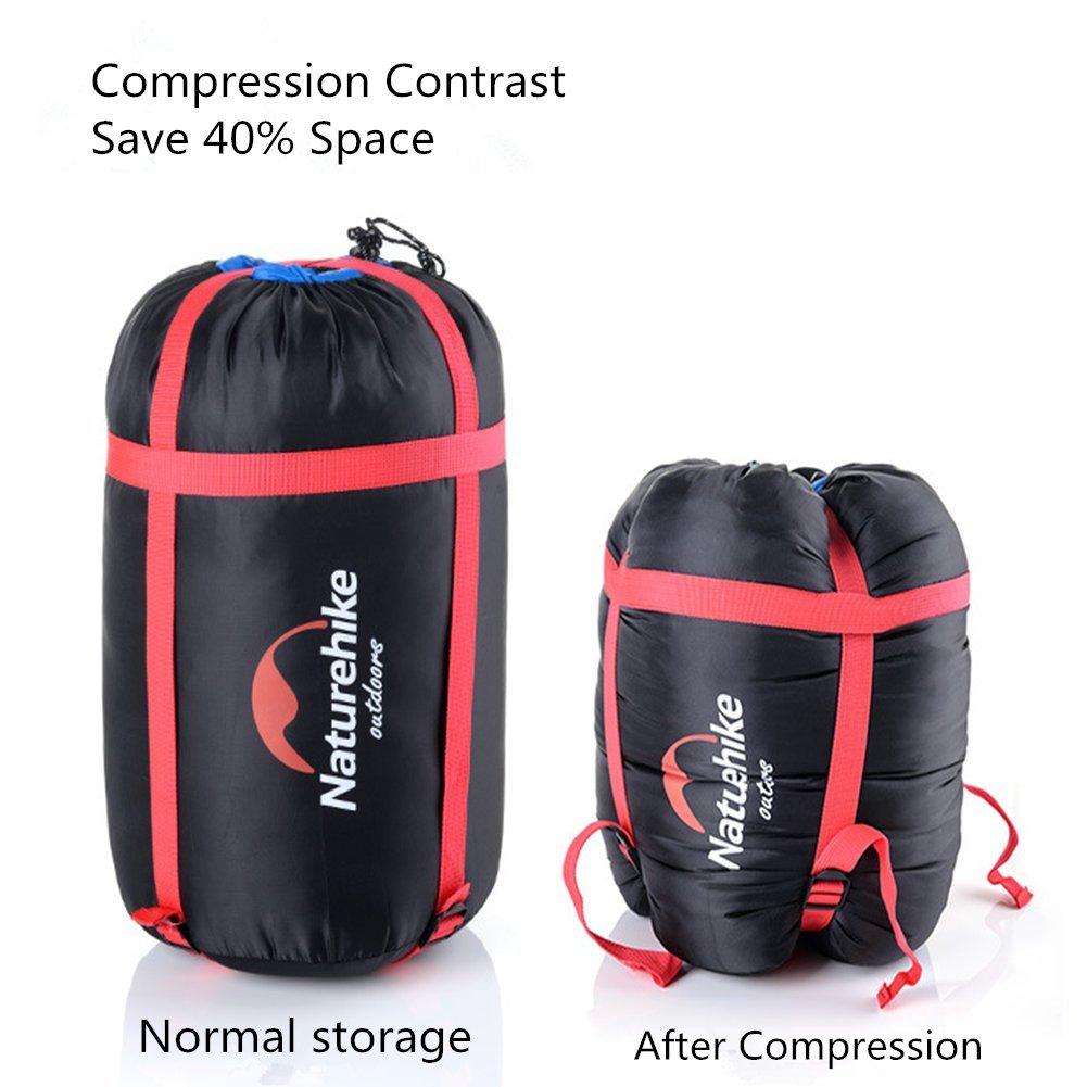 Nylon ligero resistente al agua de compresión saco de dormir bolsa de negro: Amazon.es: Deportes y aire libre