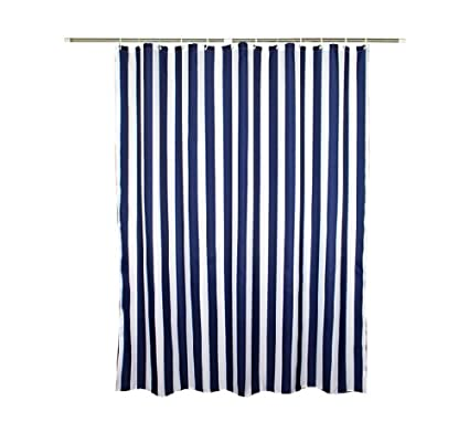 Navy Style Blue White Stripe Fabric Shower Curtain Waterproof Vertical Stripes 70 Inches Wide