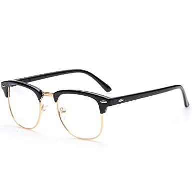 9ddf7097a Plain Glasses, Vococal Men Women Fashion Clear Lens Glasses Classic Half  Metal Frame Rimmed Glasses