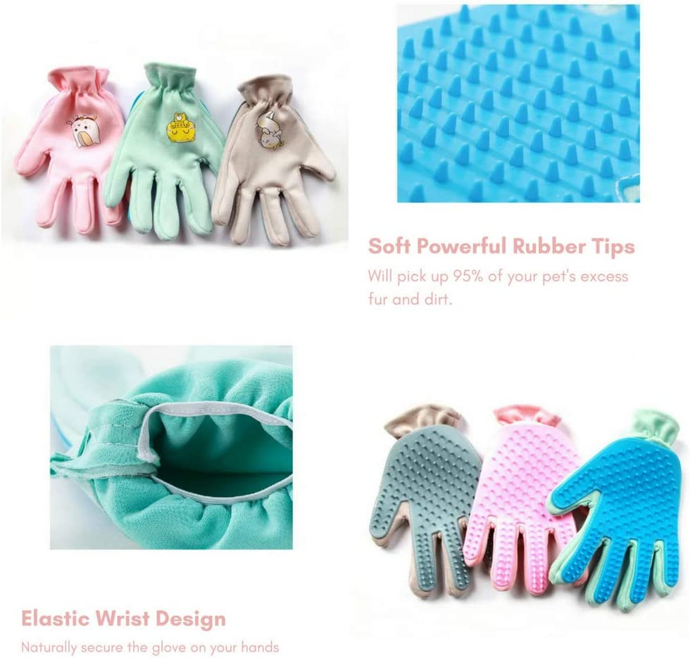 Classy Grey Hello Genki Upgraded Magic Five Finger Micro Suede Pet Cat Dog De-Shedding Hair Remove Glove That Picks up 95/% of the Excess Fur Right Hand Only Pink//Mint// Classy Grey
