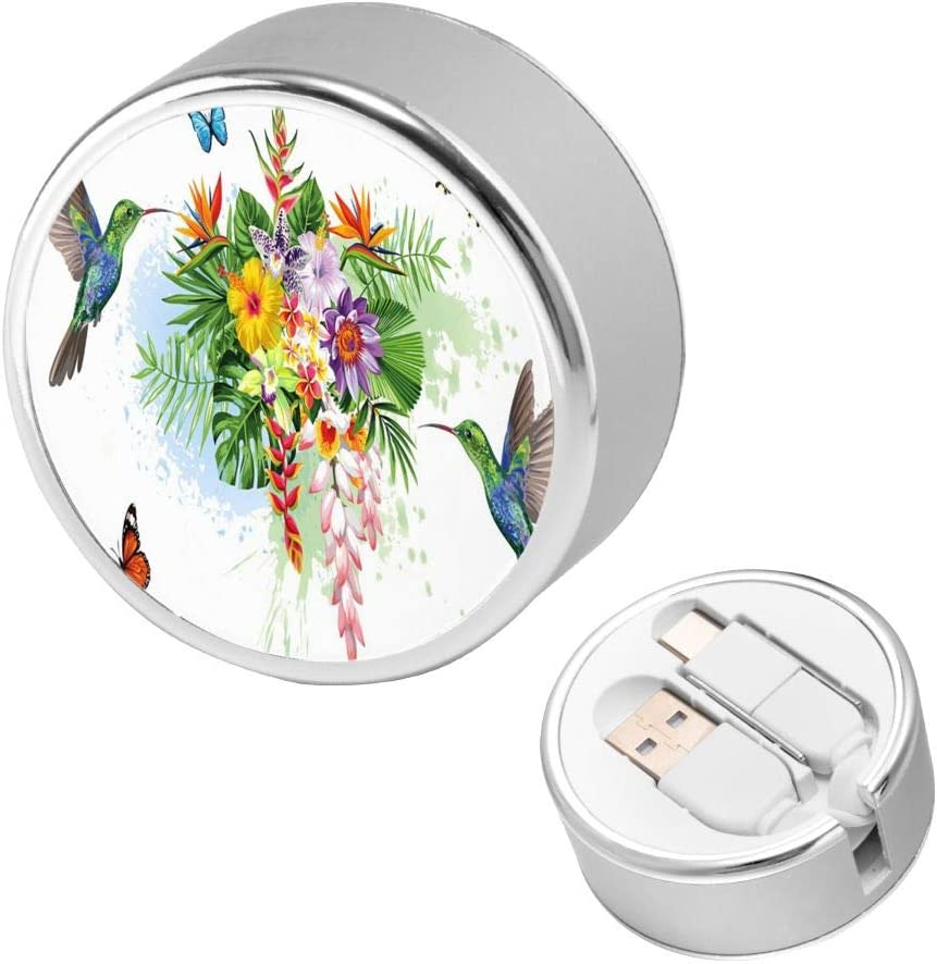 Retractable Multi Cable Hummingbird Bird and Butterfly Flower Blossom Floral 2 in 1 Retractable Powerline Type C Data Cable Durable Charging Cable for Android Smartphones and More 4ft