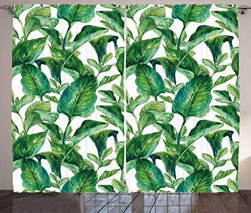Ambesonne Leaf Curtains, Romantic Holiday Island Hawaiian Banana Trees Watercolored Image, Living Room Bedroom Window Drapes 2 Panel Set, 108