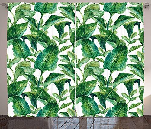 - Ambesonne Leaf Curtains, Romantic Holiday Island Hawaiian Banana Trees Watercolored Image, Living Room Bedroom Window Drapes 2 Panel Set, 108