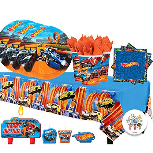 (Another Dream Hot Wheels Wild Racer Birthday Party Pack for 16 with Plates, Napkins, Cups, Tablecover, and)