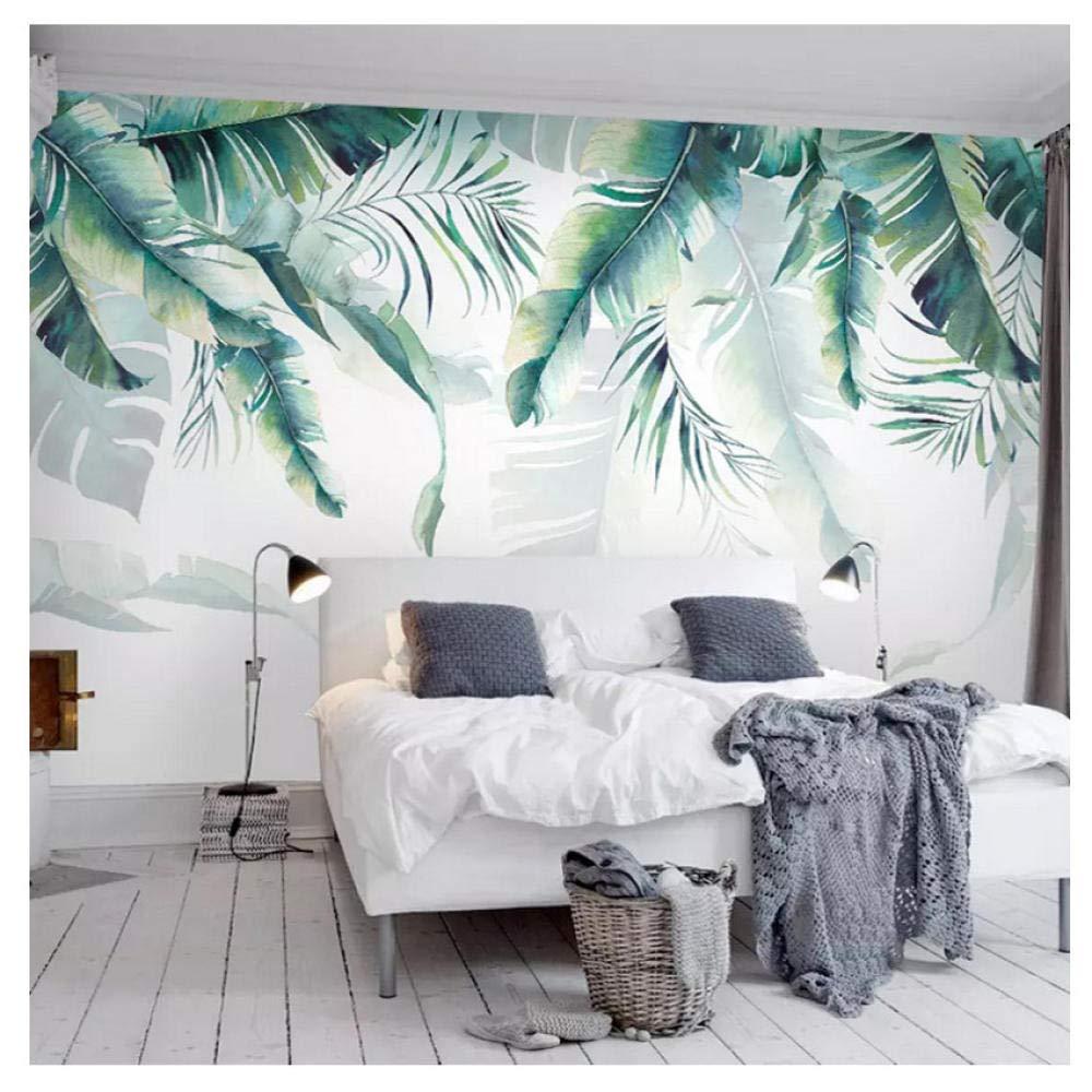 W フォト壁画壁紙レトロ熱帯雨林ヤシの木バナナの葉壁画寝室リビング