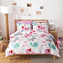 Fashion Design Kids Bedding Sets No Comforter 4pcs Bedsheet Duvet Cover Pillow Cases Twin Full Queen Size (Twin, Lovely Cat, White)