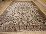 Stunning Silk Rug Persian Traditional Area Rugs Large 8x12 Living Room Rugs Ivory Rug Luxury 8x11 Silk Qum High Density Rug Large Rugs (Large 8'x12')