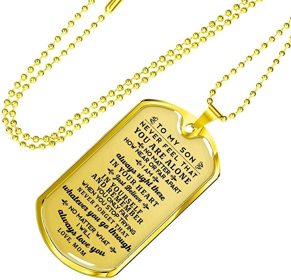 To My Son Necklace Gift From Mom Love Message From Mother To Son Dog Tag Necklace Birthday Military Graduation Christmas Son Necklace Gift