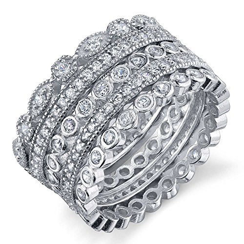 5 Stackable Sterling Silver CZ Rings Wedding Bands Stack them as you like Available in sizes 5 6 7 8 9 10