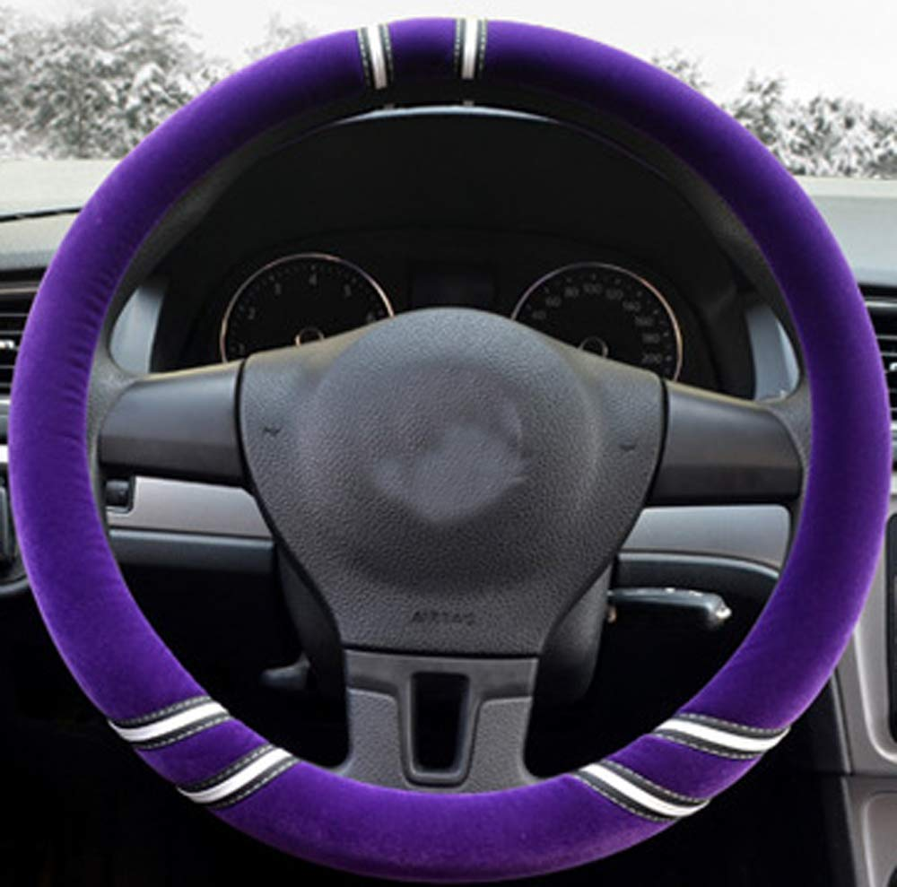 Mayco Bell Fuzzy Steering Wheel Cover for Women Girl in Winter Red